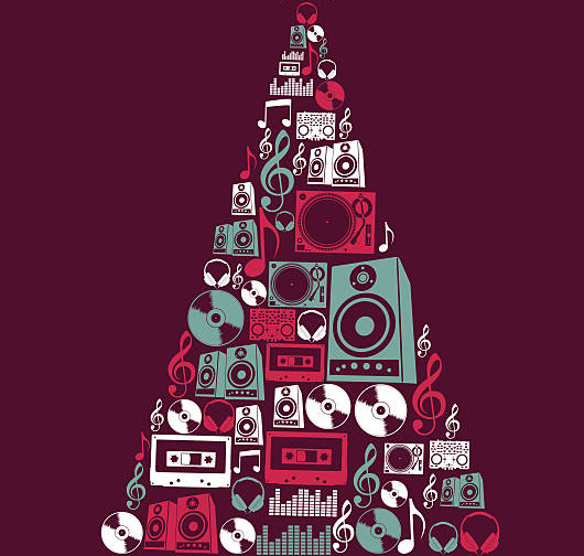 Dj Music elements Christmas tree