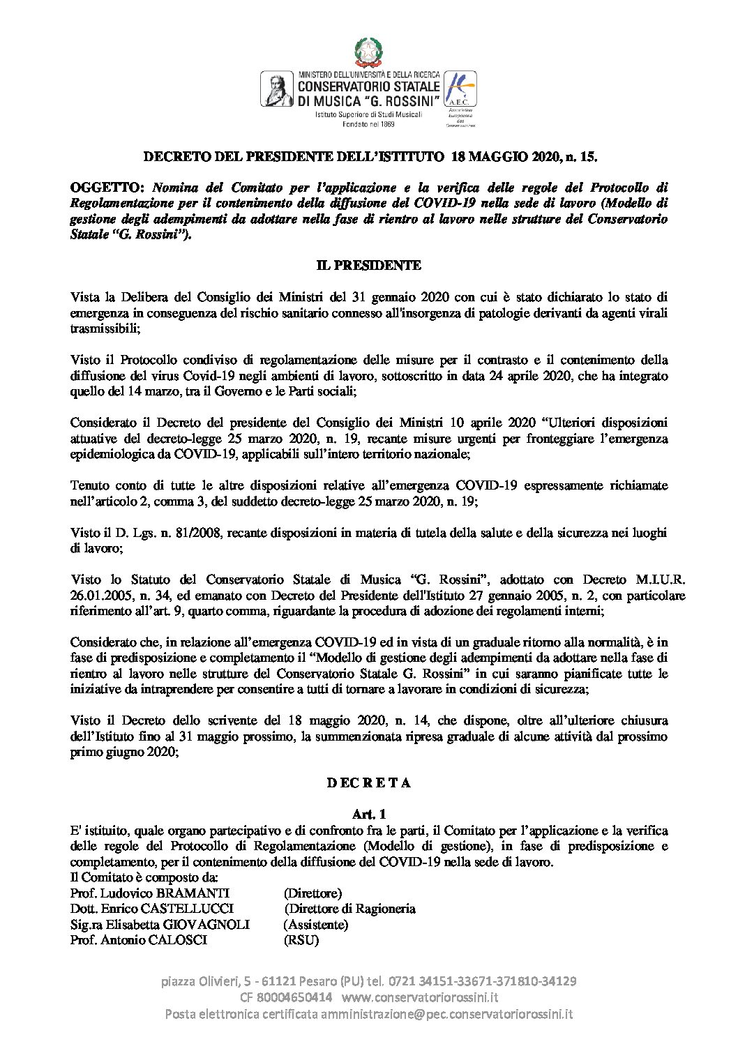 Decreto n. 15- Ripresa post lockdown- Nomina Comitato